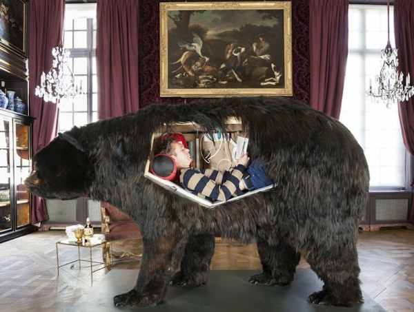 Abraham Poincheval living inside a bear