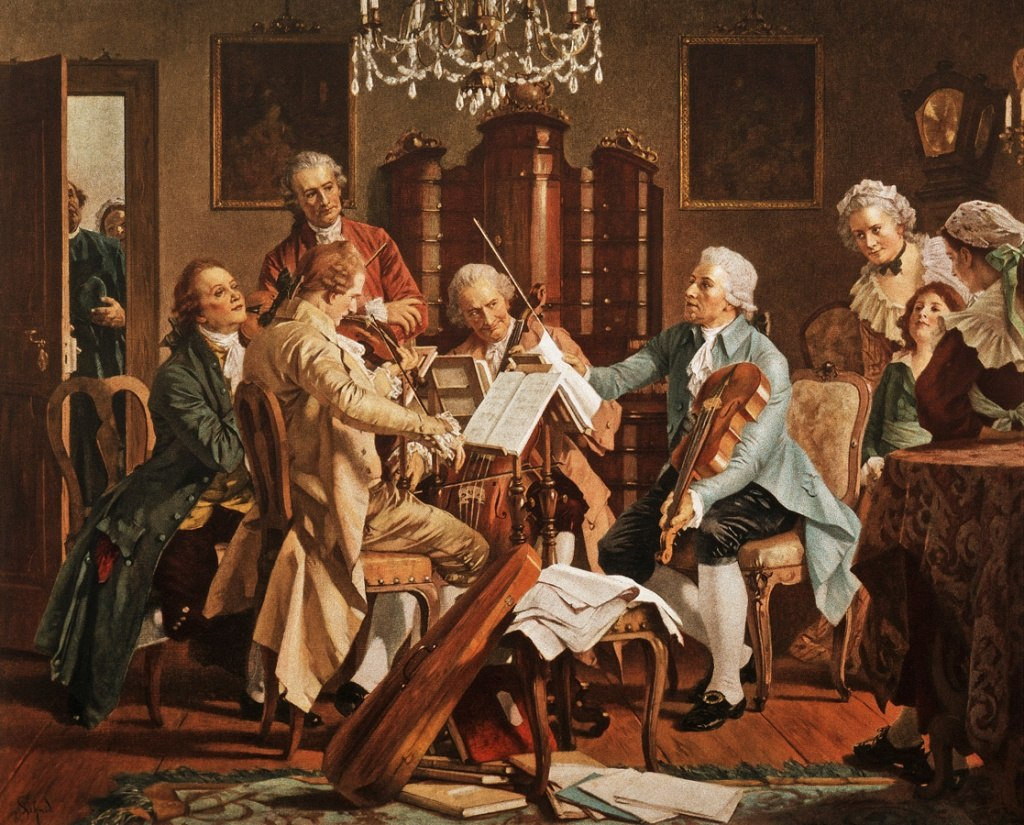 Joseph Haydn playing quartets Anonymous - painting from the StaatsMuseum, Vienna