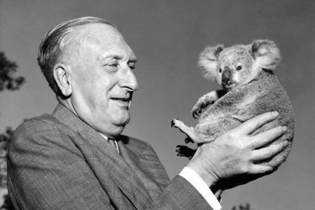 William Walton holding a koala