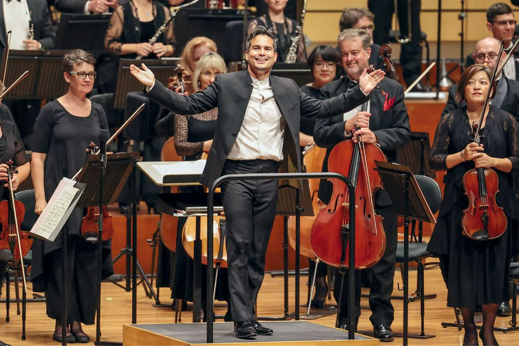 Conductor Dane Lam with the Queensland Symphony Orchestra