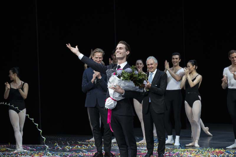 Nathan Brook is presented with the 2020 Telstra Ballet Awards