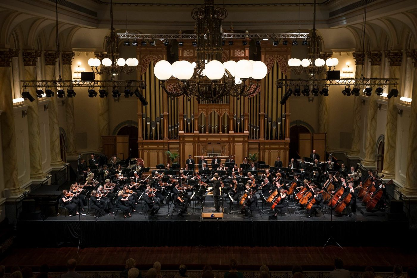 Adelaide Symphony Orchestra on stage at Adelaide Town Hall